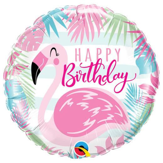 Palloncino Flamingo rosa scritta Happy BDay 45 cm 1 pezzo