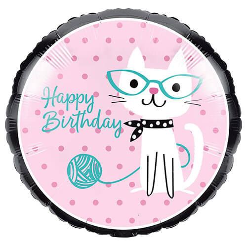 Palloncino Gatto Miao Miao con scritta Happy Birthday 45 cm 1 pezzo