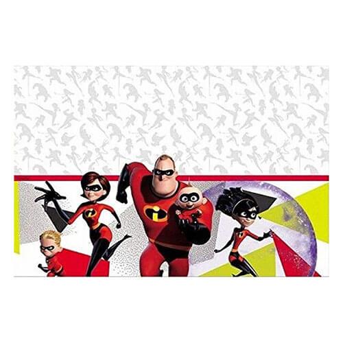Famiglia di supereroi in posa di fronte delle luci illustrazione