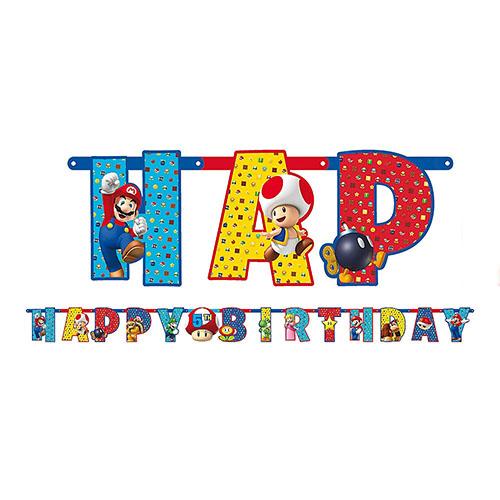 Festone Super Mario Bros scritta Happy BDay 1 pezzo