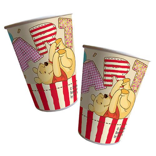 Bicchieri Winnie the Pooh alfabeto grandi 8 pezzi