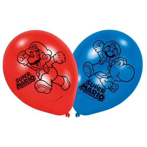 Palloncini Super Mario Bros lattice rotondi 28 cm 6 pezzi