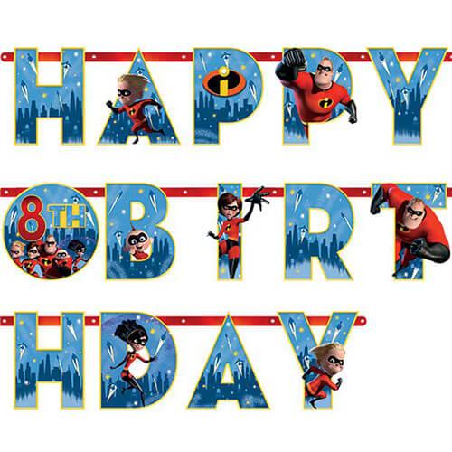 Festone Gli Incredibili Happy Birthday anni personalizzabili 1 pezzo