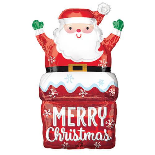 Palloncino Babbo Natale nel camino scritta Marry Xmas SuperShape 1 pezzo