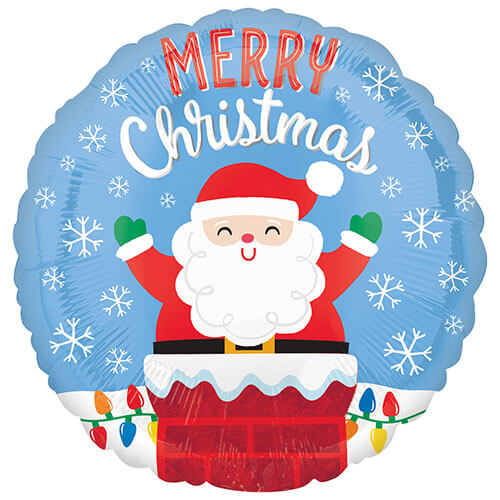 Palloncino Babbo Natale nel camino scritta Merry Xmas 45 cm 1 pezzo