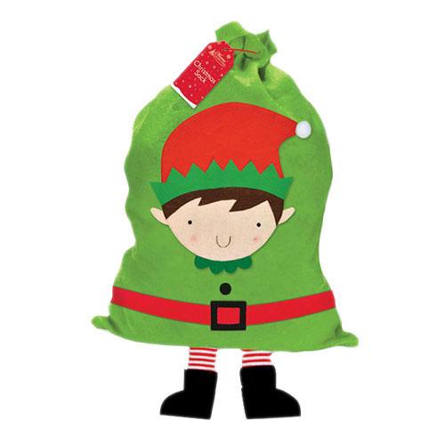 Busta a sacco grande Elfo Babbo Natale per regali festa 1 pezzo
