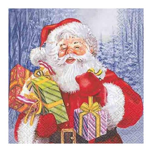 Tovaglioli Babbo Natale con regali 20 pezzi