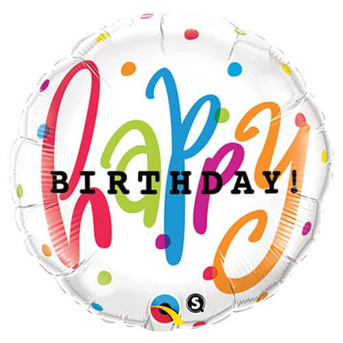 Palloncino pois colorati scritta Happy BDay 45 cm 1 pezzo