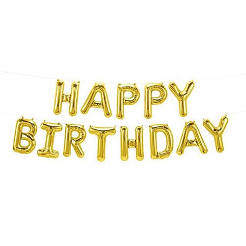 Set palloncini lettere oro Happy Birthday 41 cm 13 pezzi