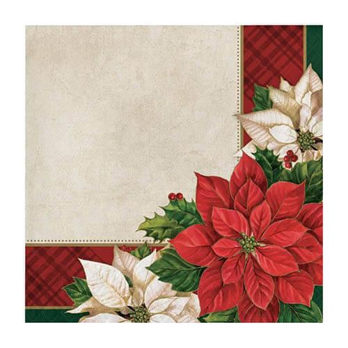 Tovaglioli Poinsettia stella di Natale 16 pezzi