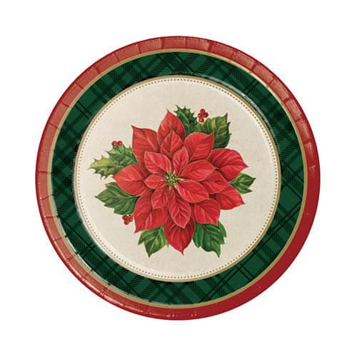 Piatti Poinsettia stella di Natale piccoli 8 pezzi