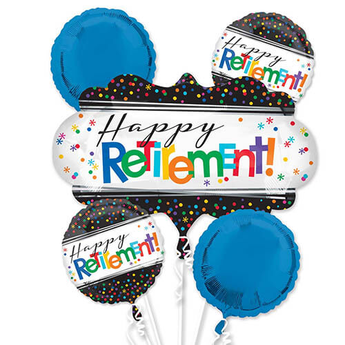 Bouquet palloncini pensionamento scritta Happy Retirement 5 pezzi