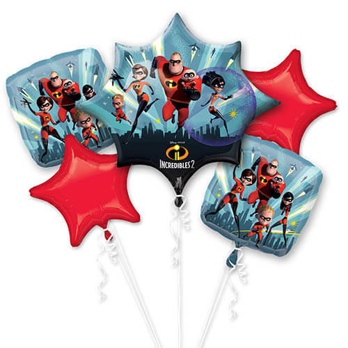 Bouquet palloncini Gli Incredibili Disney 5 pezzi