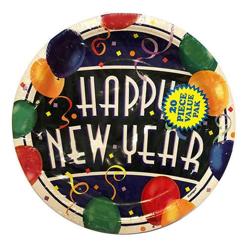 Piatti Capodanno scritta Happy New Year grandi 20 pezzi