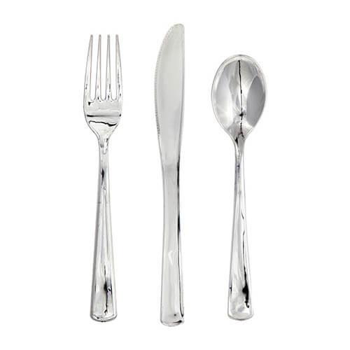 Set posate Elegance argento cromato 24 pezzi