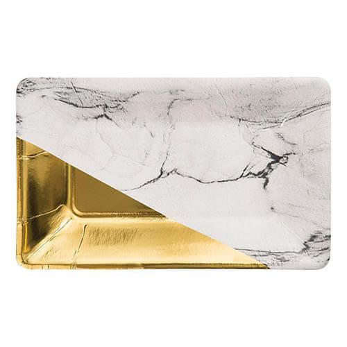 Piatti Elegance oro marmorizzati 8 pezzi