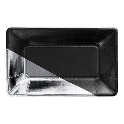 Piatti Elegance argento e nero 8 pezzi