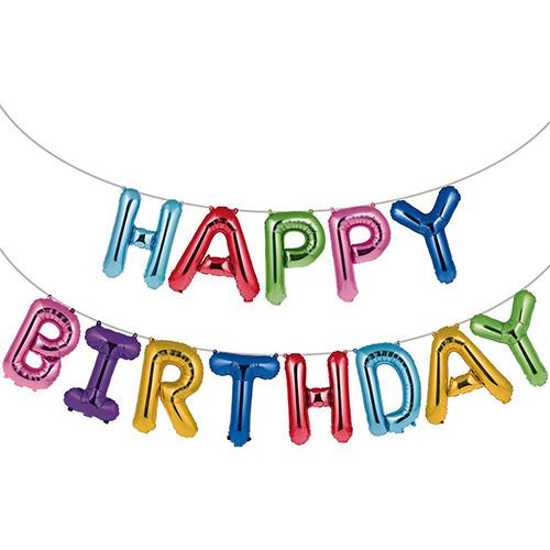 Set palloncini festone lettere arcobaleno Happy Birthday 41 cm 13 pezzi