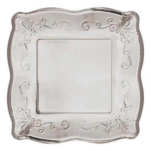 Piatti Elegance argento grandi 8 pezzi