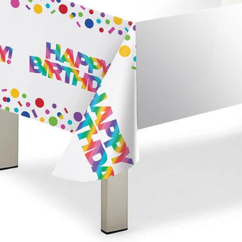 Tovaglia Arcobaleno metallizzato scritta Happy Birthday 1 pezzo