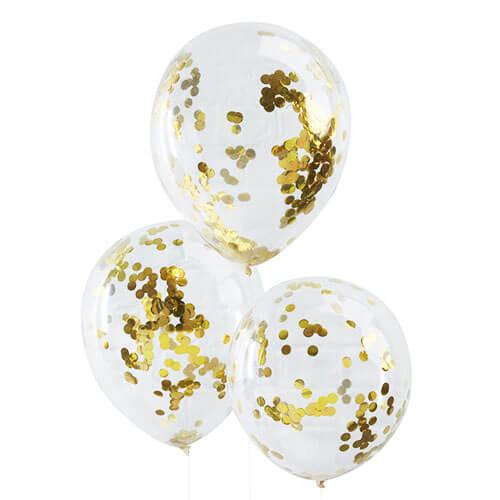 Palloncini coriandoli oro lattice rotondi 30 cm 5 pezzi