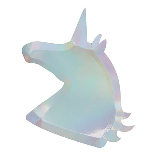Piatti Iridescente sagoma unicorno 8 pezzi