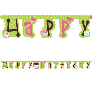 Festone cupcake scritta Happy Birthday 1 pezzo