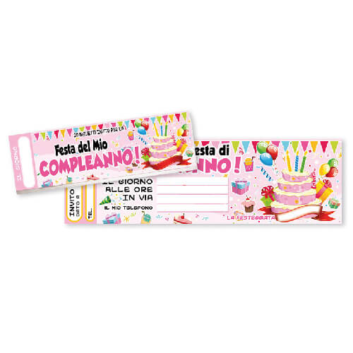 Blocchetto inviti festa di compleanno in rosa 20 pezzi