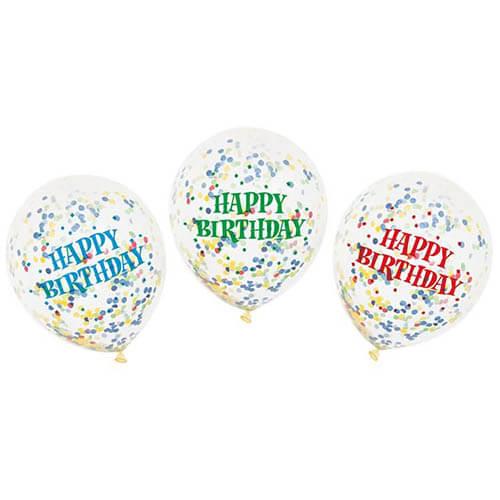 Palloncini coriandoli colorati scritta Happy BDay lattice rotondi 30 cm 6 pezzi