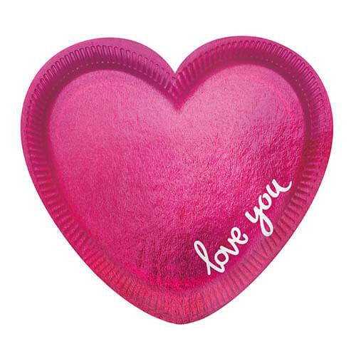 Piatti Love cuore magenta scritta Love You piccoli 6 pezzi