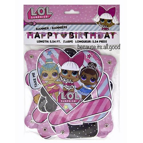 Festone LOL Surprise scritta Happy Birthday 1 pezzo