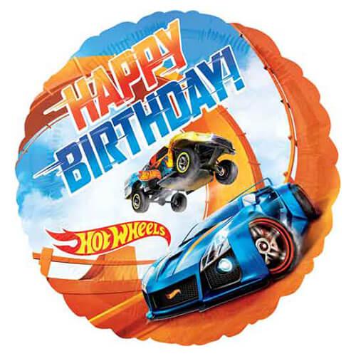 Palloncino Hot Wheels scritta Happy Birthday 45 cm 1 pezzo