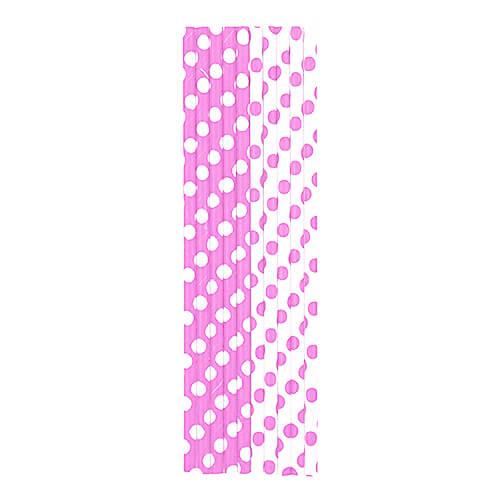 Cannucce rosa pastello pois bianco 10 pezzi