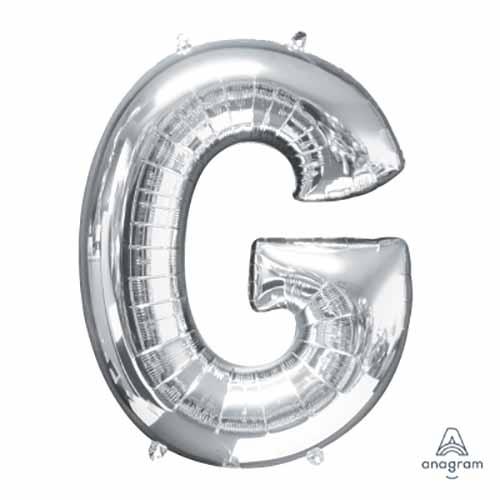 Palloncino lettera G argento SuperShape 81 cm 1 pezzo