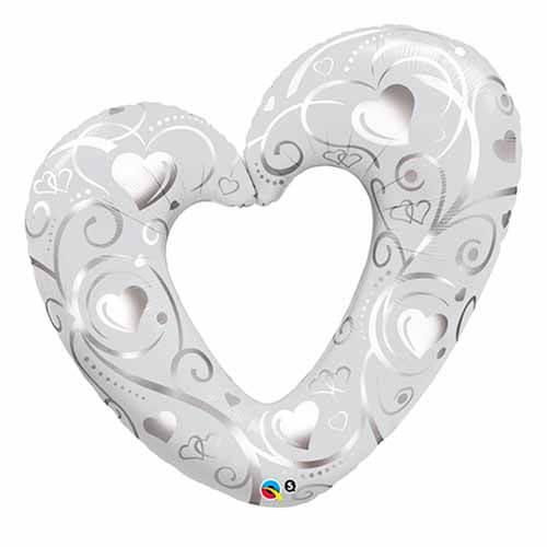 Palloncino cuore sagomato filigrana argento UltraShape 1 pezzo