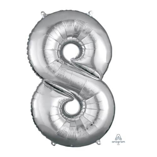 Palloncino numero 8 argento SuperShape 1 pezzo