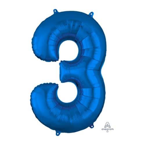 Palloncino numero 3 blu SuperShape 1 pezzo