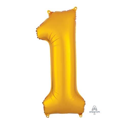 Palloncino numero 1 oro SuperShape 1 pezzo