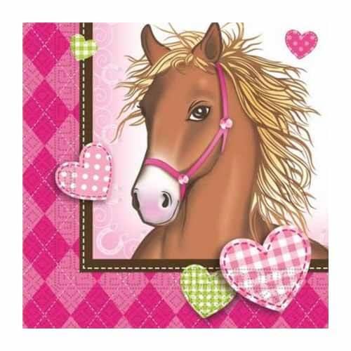 Tovaglioli Cavalli in rosa 20 pezzi