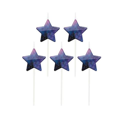 Candeline cielo stellato decorazione torta 5 pezzi