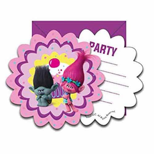 Inviti festa Trolls con buste 6 pezzi