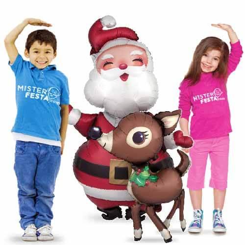 Palloncino Babbo Natale con renna mascotte AirWalkers 1 pezzo