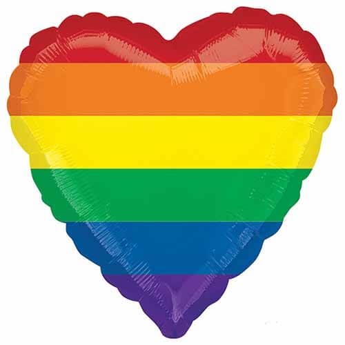 Palloncino cuore strisce arcobaleno 45 cm 1 pezzo