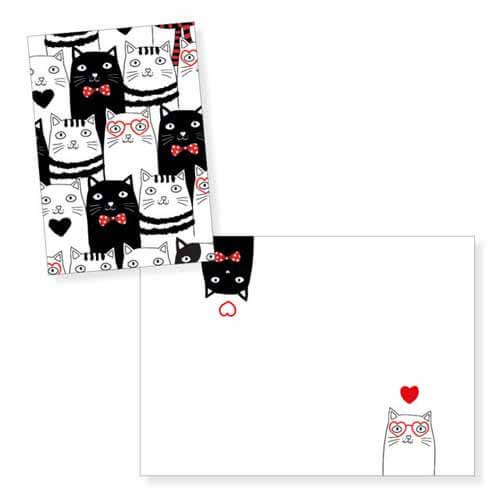 Biglietto auguri gatti innamorati senza testo con busta 1 pezzo