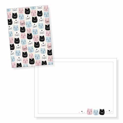 Biglietto auguri gatti rosa azzurro senza testo con busta 1 pezzo