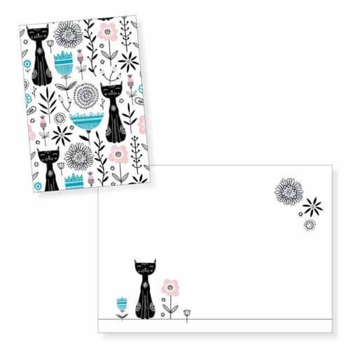 Biglietto auguri gatti e fiori senza testo con busta 1 pezzo