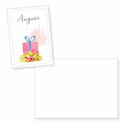 Biglietto auguri pacco regalo e fiori senza testo con busta 1 pezzo