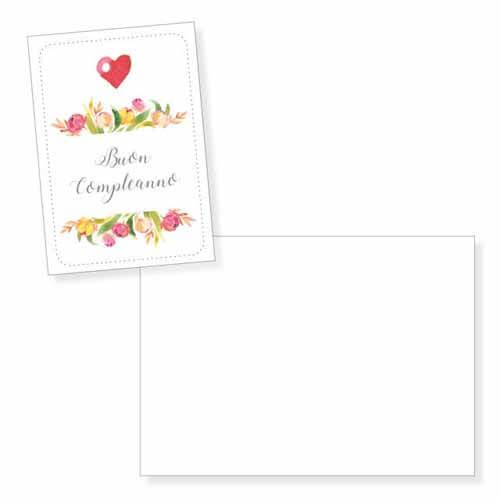 Biglietto auguri cuore e fiori senza testo con busta 1 pezzo