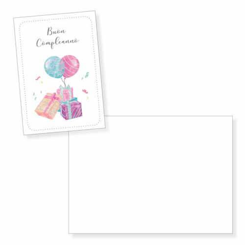 Biglietto auguri regali e palloncini senza testo con busta 1 pezzo