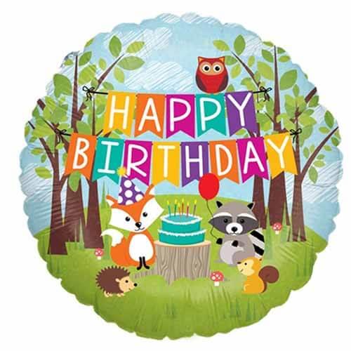 Palloncino animali del bosco scritta happy birthday 45 cm 1 pezzo